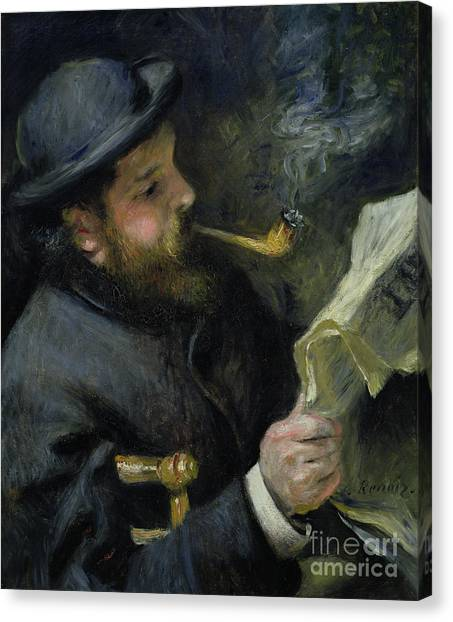 Pierre-auguste Renoir Canvas Print - Claude Monet Reading A Newspaper by Pierre Auguste Renoir