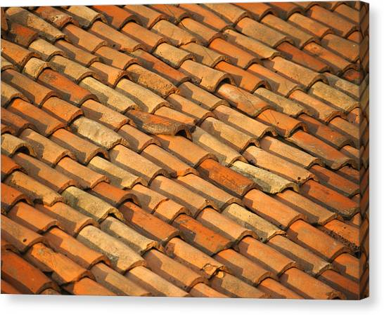 Shingles Canvas Print - Clay Roof Tiles by David Buffington