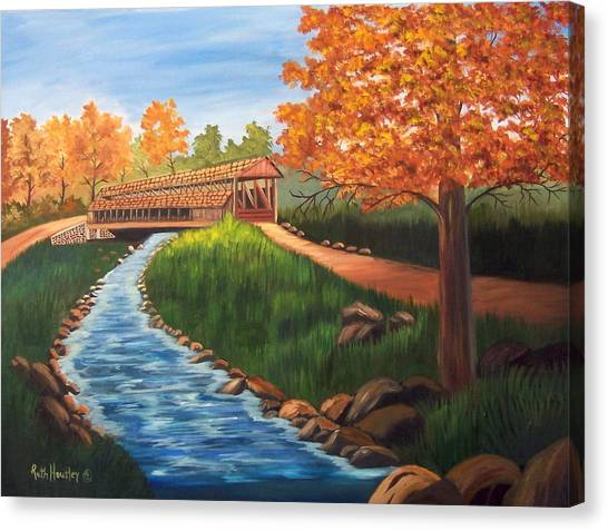 Claycomb Covered Bridge Sold Canvas Print by Ruth  Housley