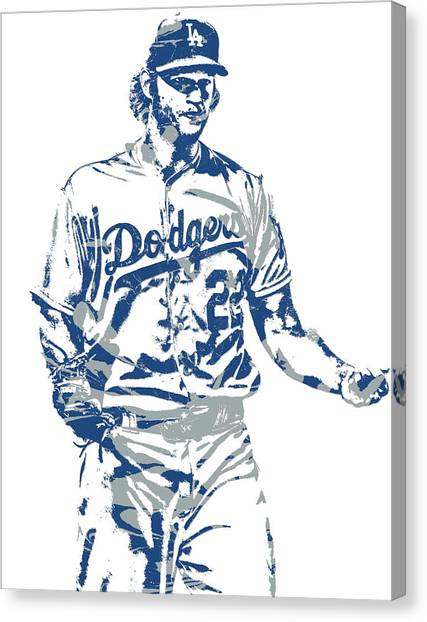 Los Angeles Dodgers Canvas Print - Clayton Kershaw Los Angeles Dodgers Pixel Art 10 by Joe Hamilton