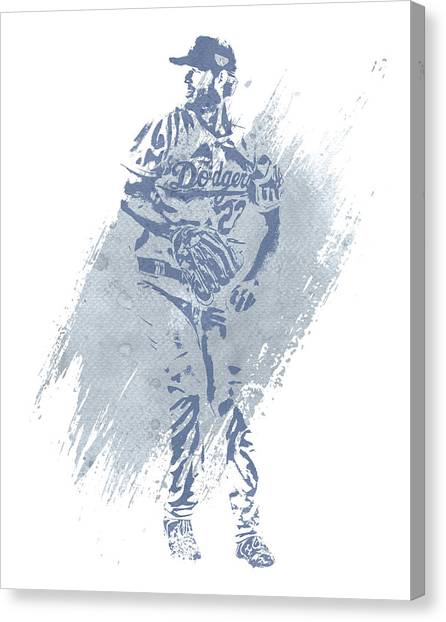 Los Angeles Dodgers Canvas Print - Clayton Kershaw Los Angeles Dodgers Water Color Art 2 by Joe Hamilton
