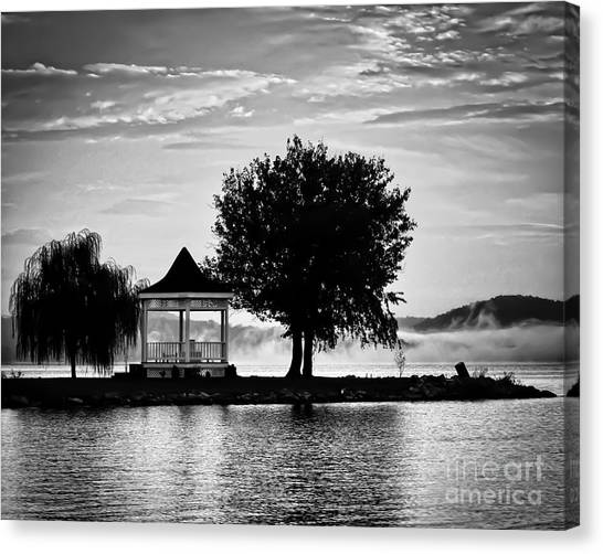 Claytor Lake Gazebo - Black And White Canvas Print