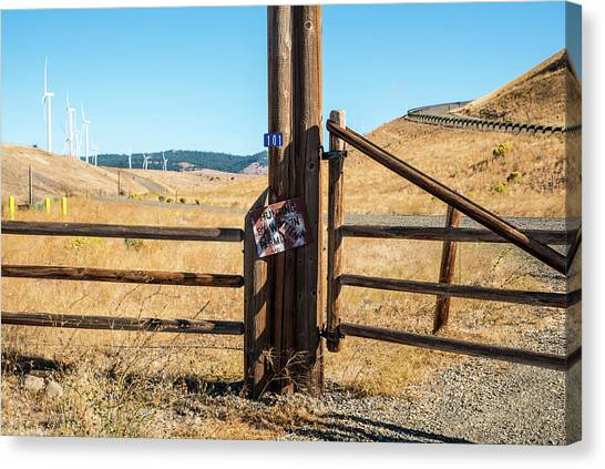 Clean Power And Old Ranch Gates Canvas Print