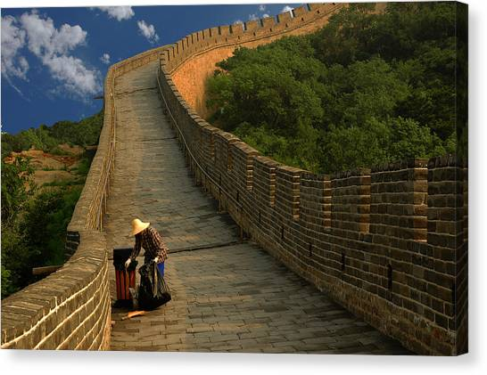 Cleaning The Great Wall Canvas Print