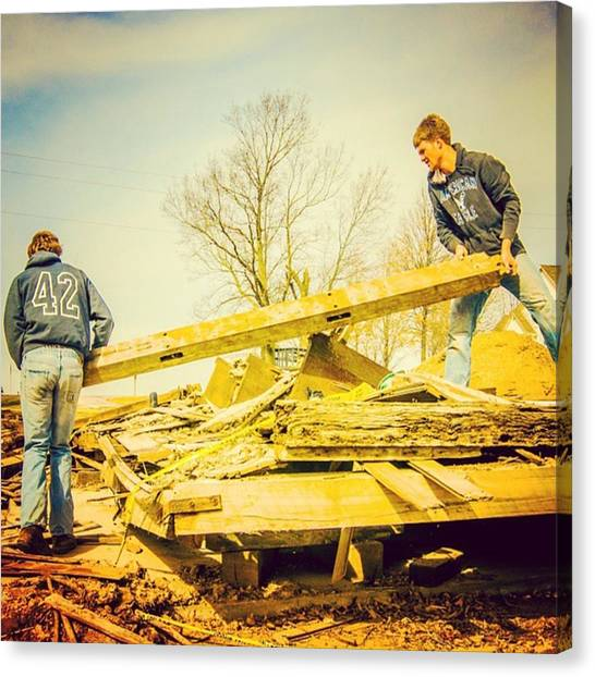 Tornadoes Canvas Print - Cleanup In New Minden, Ill., Spring by Alex Haglund