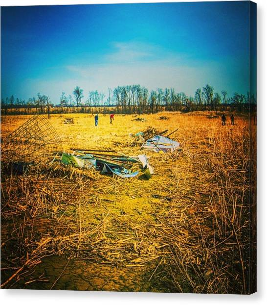 Tornadoes Canvas Print - Cleanup In The Spring Following Late by Alex Haglund