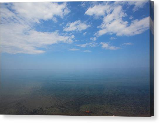 Clear Blue Waters With Clouds, Lake Superior Canvas Print