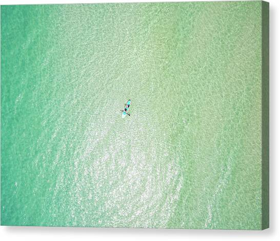 Clear Gulf Paddle Board Aerial Canvas Print