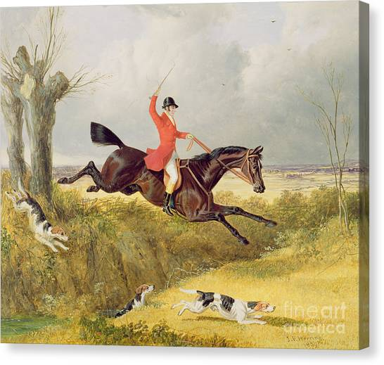Beagles Canvas Print - Clearing A Ditch by John Frederick Herring Snr