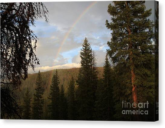 Clearing Rain And Rainbow Canvas Print