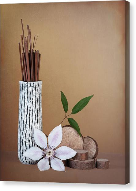 Bloom Canvas Print - Clematis Flower Still Life by Tom Mc Nemar