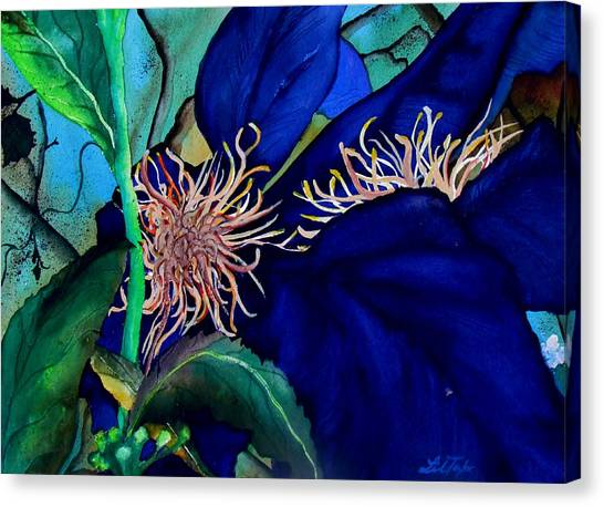 Clematis Regal In Purple And Blue Sold Canvas Print