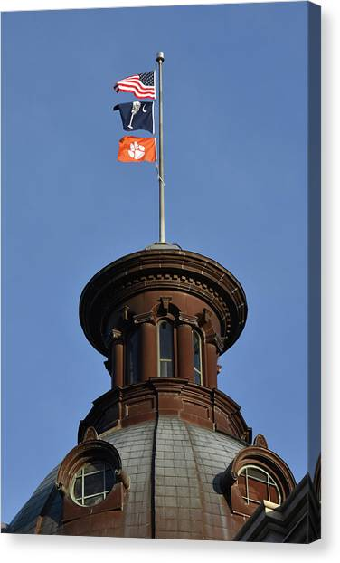 Clemson University Canvas Print - Clemson Flag At State House by Rob Thompson