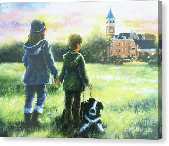 Clemson University Canvas Print - Clemson Kids Big Sister Little Brother by Vickie Wade