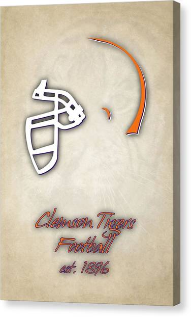 Clemson University Canvas Print - Clemson Tigers Helmet 2 by Joe Hamilton