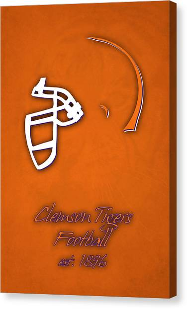 Clemson University Canvas Print - Clemson Tigers Helmet by Joe Hamilton
