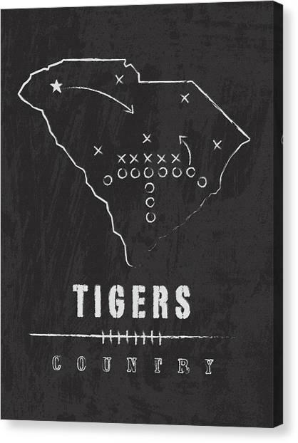 Clemson University Canvas Print - Clemson Tigers / Ncaa College Football Art / South Carolina by Damon Gray
