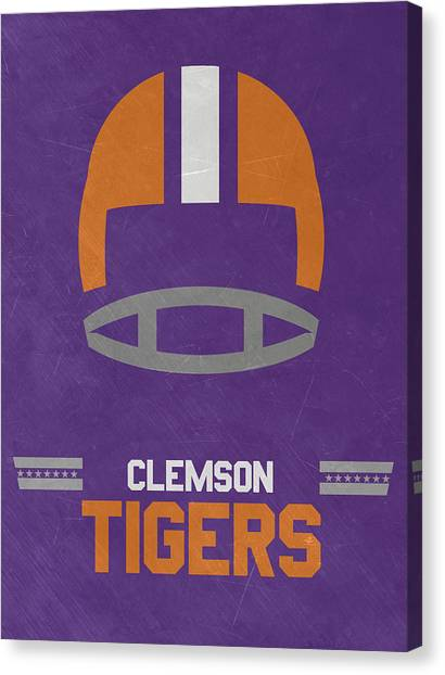 Clemson University Canvas Print - Clemson Tigers Vintage Football Art by Joe Hamilton