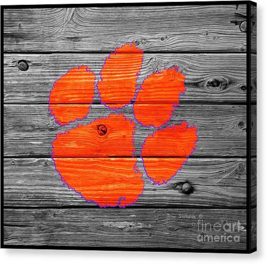 Clemson University Canvas Print - Clemson University Tigers Logo On Weathered Wood by John Stephens