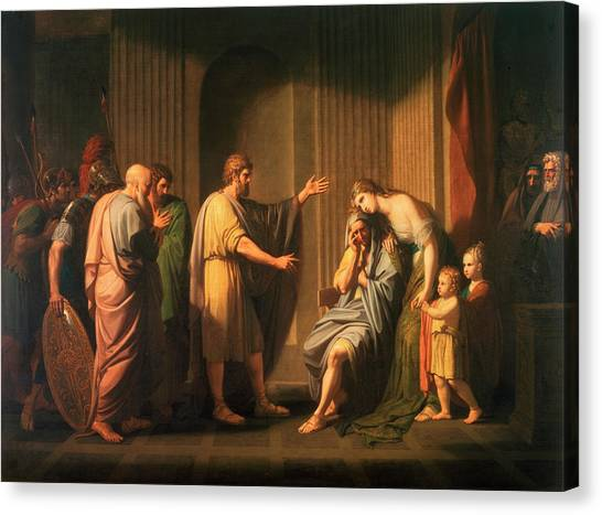 God Of War Canvas Print - Cleombrotus Ordered Into Banishment By Leonidas II, Kincleombrotus Ordered Into Banishmeng Of Sparta by Benjamin West