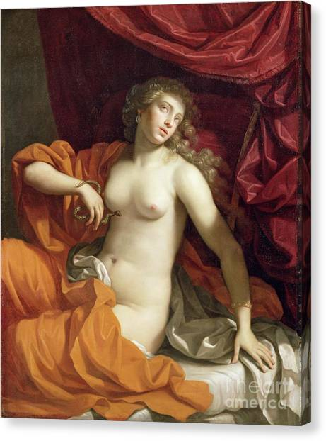 Poisonous Snakes Canvas Print - Cleopatra by Benedetto the Younger Gennari