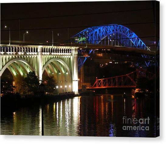 Cleveland Bridge Series 7 Canvas Print by Donna Stewart