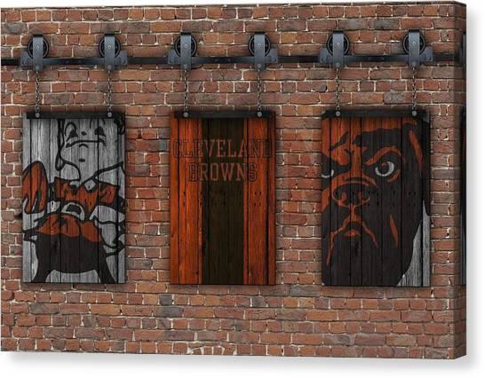 Cleveland Browns Canvas Print - Cleveland Browns Brick Wall by Joe Hamilton