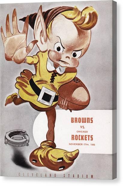Cleveland Browns Canvas Print - Cleveland Browns Vintage Program by Joe Hamilton