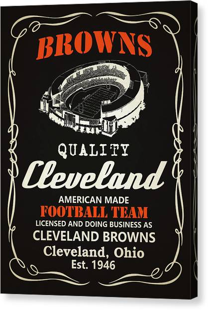 Cleveland Browns Canvas Print - Cleveland Browns Whiskey by Joe Hamilton