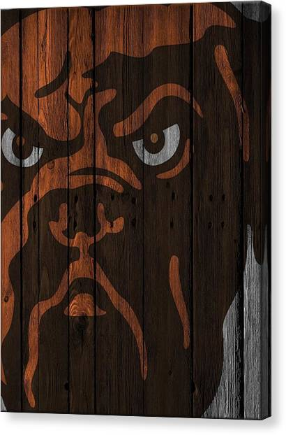 Cleveland Browns Canvas Print - Cleveland Browns Wood Fence by Joe Hamilton
