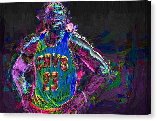 Strikeout Canvas Print - Cleveland Cavaliers King Lebron James Painted Mix 2 by David Haskett