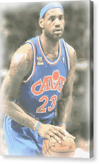 Lebron James Canvas Print - Cleveland Cavaliers Lebron James 1 by Joe Hamilton