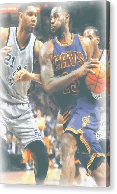 Lebron James Canvas Print - Cleveland Cavaliers Lebron James 4 by Joe Hamilton