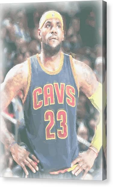 Lebron James Canvas Print - Cleveland Cavaliers Lebron James 5 by Joe Hamilton