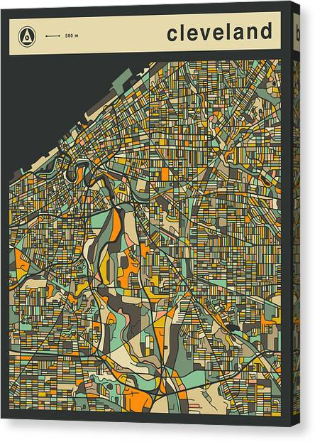 Cleveland Canvas Print - Cleveland City Map by Jazzberry Blue