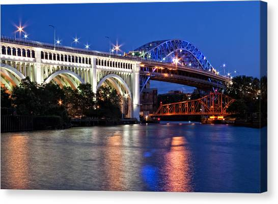 Cleveland Colored Bridges Canvas Print