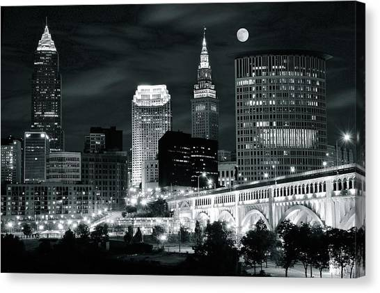Cleveland Iconic Night Lights Canvas Print