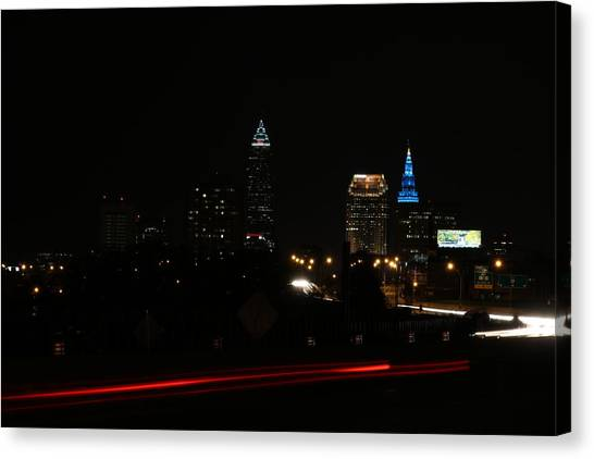 Horizon League Canvas Print - Cleveland In The Dark  by Alex Jones