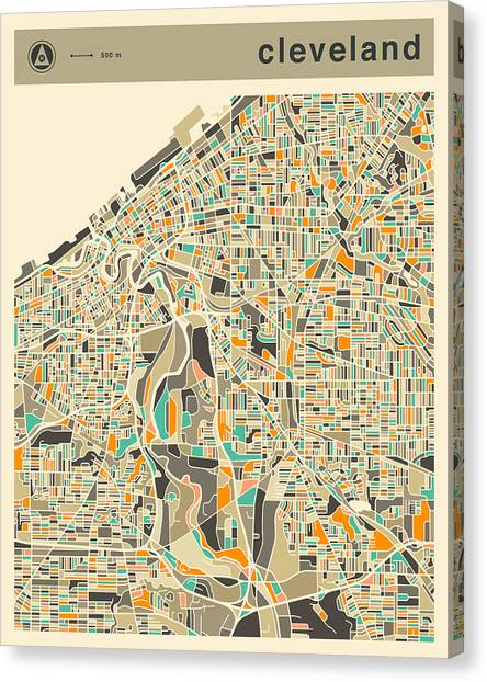 Cleveland Canvas Print - Cleveland Map 2 by Jazzberry Blue