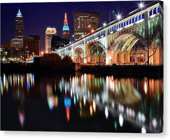 Cleveland Indians Canvas Print - Cleveland Ohio Skyline by Frozen in Time Fine Art Photography