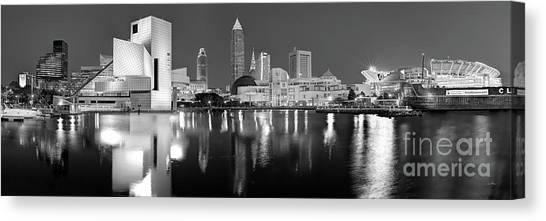 Cleveland Browns Canvas Print - Cleveland Skyline At Dusk Black And White by Jon Holiday