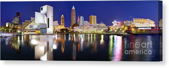 Panoramic Canvas Print - Cleveland Skyline At Dusk by Jon Holiday