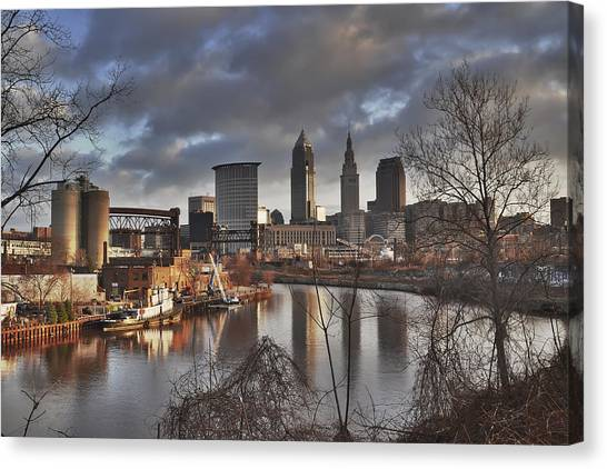 Cleveland Skyline From The River - Morning Light Canvas Print