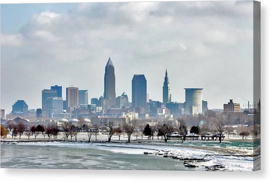 Cleveland Skyline In Winter Canvas Print