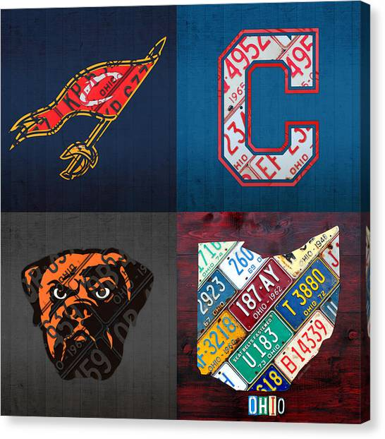 Cleveland Indians Canvas Print - Cleveland Sports Fan Recycled Vintage Ohio License Plate Art Cavaliers Indians Browns And State Map by Design Turnpike