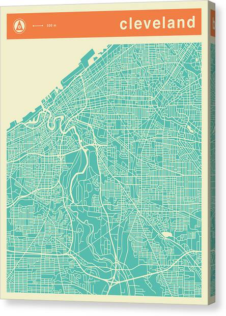 Cleveland Canvas Print - Cleveland Street Map by Jazzberry Blue