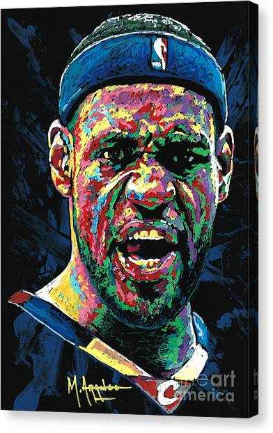 Lebron James Canvas Print - Cleveland's Pride by Maria Arango