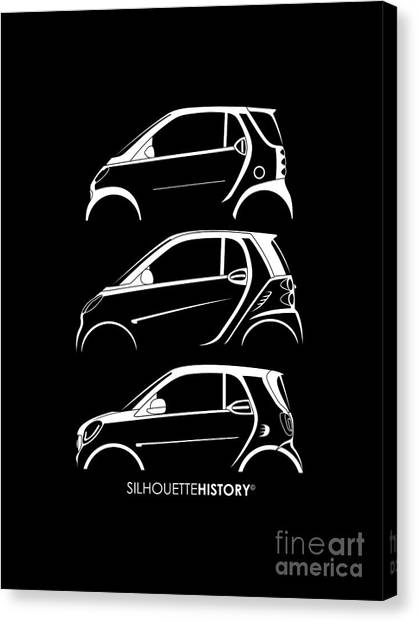 micro car canvas prints fine art america VW Bulli Microbus micro car canvas print clever coupe silhouettehistory by gabor vida