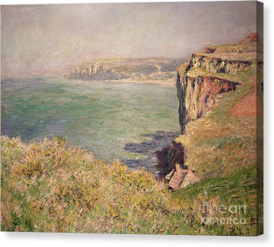 French Impressionist Canvas Print - Cliff At Varengeville by Claude Monet