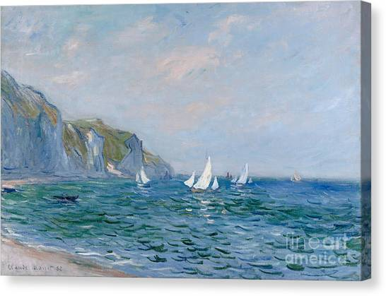 Cliffs Canvas Print - Cliffs And Sailboats At Pourville  by Claude Monet